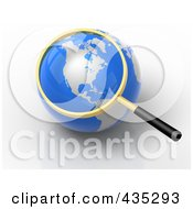Royalty Free RF Clipart Illustration Of A 3d Magnifying Glass Zooming In On America On A Globe