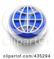 3d Blue Wire Globe Button