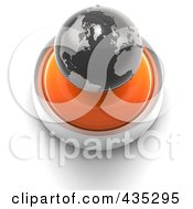 3d Orange Button With A Black Globe