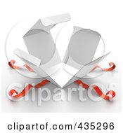 Royalty Free RF Clipart Illustration Of A 3d Bursting White Gift Box With Red Ribbons