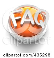 3d Orange FAQ Button
