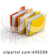 Royalty Free RF Clipart Illustration Of 3d Red Orange And Yellow File Folders With Documents by Tonis Pan