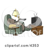 Funny Dog Sitting In A Recliner With A Beer Changing TV Channels With Remote Controller Clipart