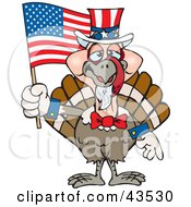 Patriotic Uncle Sam Turkey Waving An American Flag On Independence Day