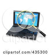 3d Magnifying Glass Zooming In On A World Map On A Laptop Screen
