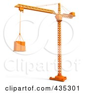 Royalty Free RF Clipart Illustration Of A 3d Orange Tower Crane Lifting Boxes