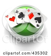 Royalty Free RF Clipart Illustration Of A 3d Green Playing Card Button