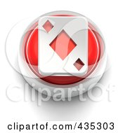 3d Red Diamond Playing Card Button