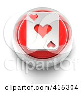 3d Red Heart Playing Card Button