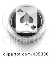3d Black Spade Playing Card Button
