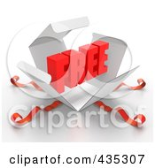 Royalty Free RF Clipart Illustration Of A 3d Word FREE Bursting Out Through A White Box With Red Ribbons by Tonis Pan