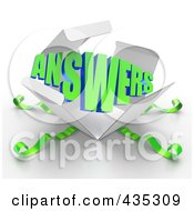 Royalty Free RF Clipart Illustration Of A 3d Word ANSWERS Bursting Out Through A White Box With Green Ribbons by Tonis Pan