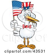 Patriotic Uncle Sam Stork Waving An American Flag On Independence Day