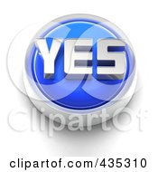 Royalty Free RF Clipart Illustration Of A 3d Blue Yes Button by Tonis Pan