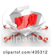 Royalty Free RF Clipart Illustration Of A 3d Word NEW Bursting Out Through A White Box With Red Ribbons by Tonis Pan