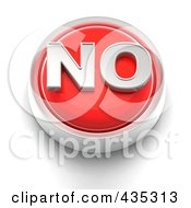 Royalty Free RF Clipart Illustration Of A 3d Red No Button
