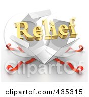 Royalty Free RF Clipart Illustration Of A 3d Word RELIEF Bursting Out Through A White Box With Red Ribbons