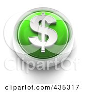 3d Green Dollar Symbol Button