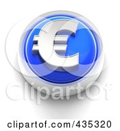 3d Blue Euro Button