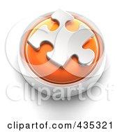 Poster, Art Print Of 3d Orange Puzzle Piece Button