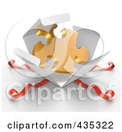 Royalty Free RF Clipart Illustration Of A 3d Gold Puzzle Piece Bursting Out Through A White Box With Red Ribbons by Tonis Pan