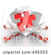 Royalty Free RF Clipart Illustration Of A 3d Red Puzzle Piece Bursting Out Through A White Box With Red Ribbons by Tonis Pan