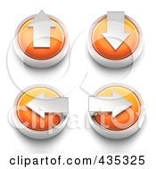 Digital Collage Of 3d Orange Arrow Buttons