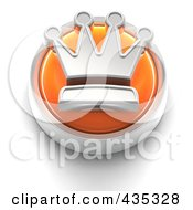 Royalty Free RF Clipart Illustration Of A 3d Orange Crown Button