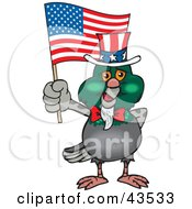 Patriotic Uncle Sam Pigeon Waving An American Flag On Independence Day