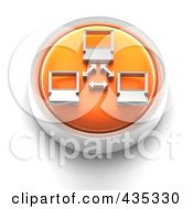 3d Orange Network Button