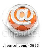 3d Orange Email Button