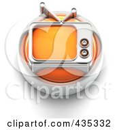 3d Orange Tv Button