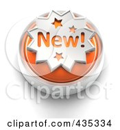 3d Orange New Button