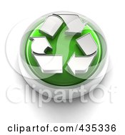 Royalty Free RF Clipart Illustration Of A 3d Green Recycle Button by Tonis Pan