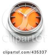 3d Orange Clock Button