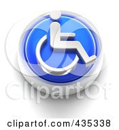3d Blue Wheelchair Button