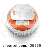 3d Orange Print Button
