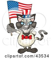 Clipart Illustration Of A Patriotic Uncle Sam Siamese Cat Waving An American Flag On Independence Day