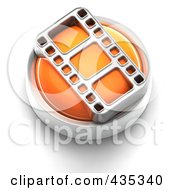 3d Orange Film Strip Button