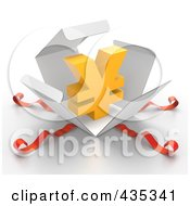 Royalty Free RF Clipart Illustration Of A 3d Yen Symbol Bursting Out Through A White Box With Red Ribbons