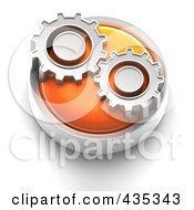 3d Orange Gears Button