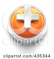 Royalty Free RF Clipart Illustration Of A 3d Orange Plus Button