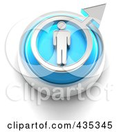 Royalty Free RF Clipart Illustration Of A 3d Blue Male Gender Button