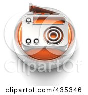Royalty Free RF Clipart Illustration Of A 3d Orange Radio Button by Tonis Pan