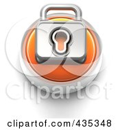 3d Orange Padlock Button