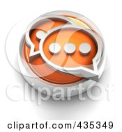 3d Orange Chat Button