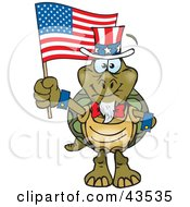 Clipart Illustration Of A Patriotic Uncle Sam Tortoise Waving An American Flag On Independence Day by Dennis Holmes Designs