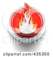 3d Red Flames Button