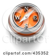3d Orange Compass Button