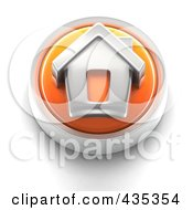 3d Orange Home Page Button
